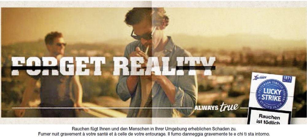 Lucky-Strike-Werbung der Kampagne « Always true » in den Printmedien